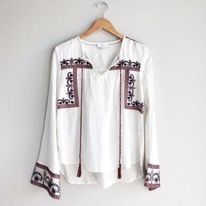 Evereve Braeve White Embroidered Boho Blouse XS